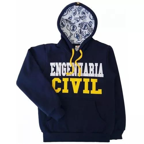 Moletom engenharia civil blusa com capuz bolso canguru