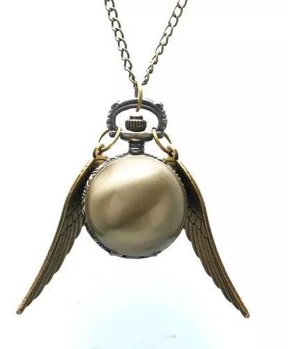 Pomo de ouro - colar relógio de bolso harry potter