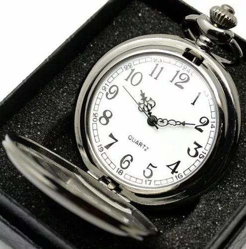 Promoção relógio de bolso preto pronta entrega estojo