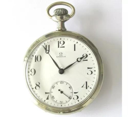 Relógio bolso antigo omega ferradura swiss caixa de níquel