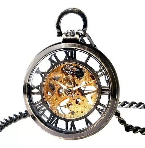 Relógio bolso automático esqueleto romanos yisuya retro