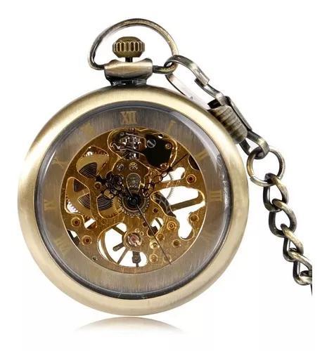 Relógio bolso automático esqueleto yisuya original