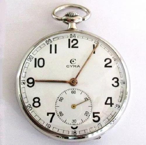 Relógio bolso cyma swiss, caixa níquel, mostrador