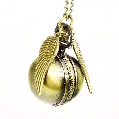 Relógio bolso pomo ouro harry potter steampunk bronze