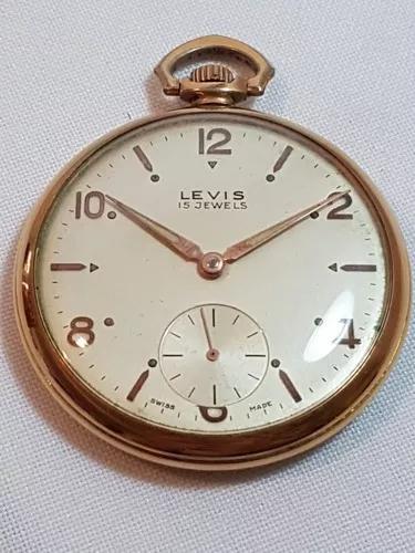 Relógio bolso suiço da marca levis 15 rubis 46 mm