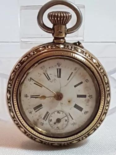 Relógio bolso vintage vermeil prata800 e banho de ouro