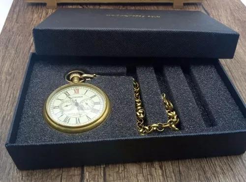 Relógio de bolso a corda novo estilo retrô antigo london