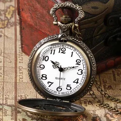 Relógio de bolso antigo c/ corrente retro