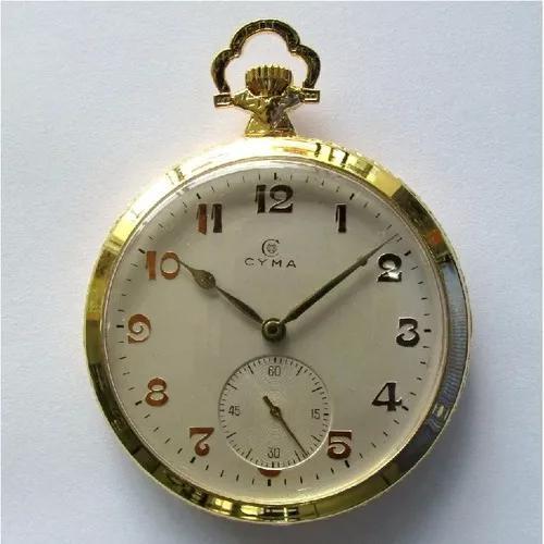 Relógio de bolso antigo cyma swiss, folhado a ouro mod. 777