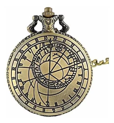 Relógio de bolso bússola árabe + corrente retro vintage