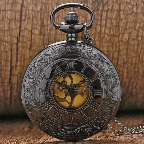 Relógio de bolso dark gold steampunk retro antigo clássico