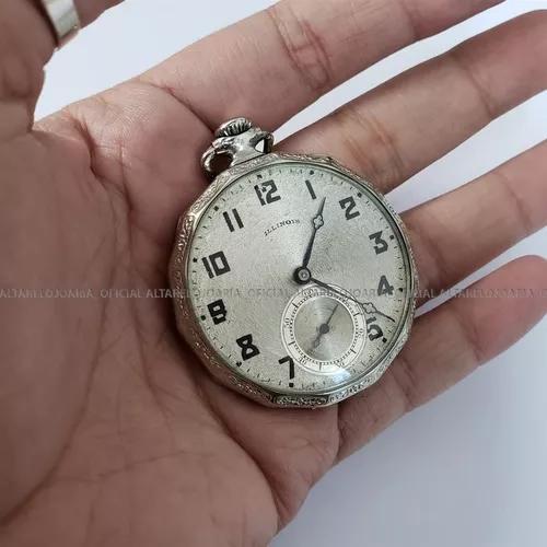 Relógio de bolso illinois vintage corda manual
