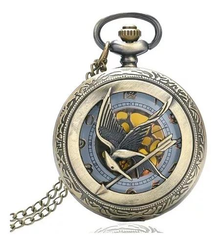 Relógio de bolso jogos vorazes tordo katniss unissex bronze