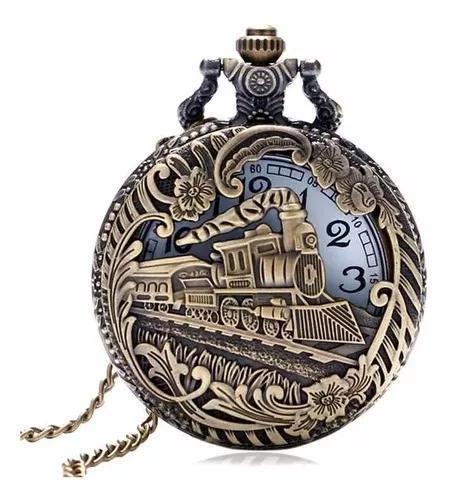 Relógio de bolso locomotiva luxo c/ corrente retro vintage