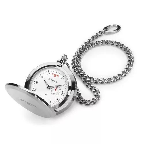 Relógio de bolso masculino technos classic 1l45ba/1b prata