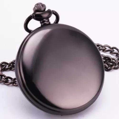 Relógio de bolso metal polido preto importado