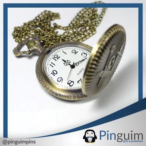 Relógio de bolso quartz c/ símbolo maçonaria