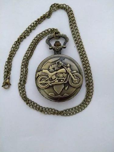 Relógio de bolso quartzo analógico bronze com motocicleta