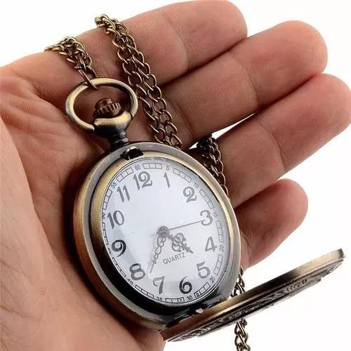 Relógio de bolso retro antigo estiloso c/ corrente
