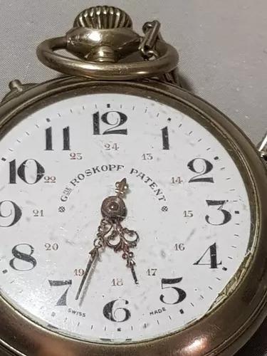 Relógio de bolso roskopf patent antigo funcionando