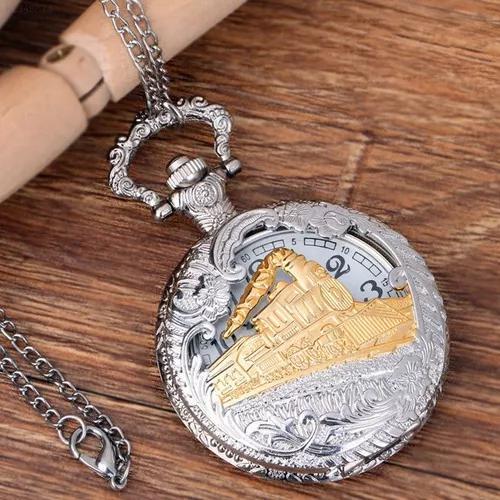 Relógio de bolso steampunk com corrente antigo prata