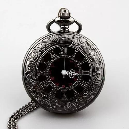 Relógio de bolso steampunk preto + corrente retro vintage