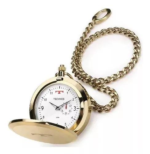 Relógio de bolso technos aço inox quartzo 1l45bb/4b
