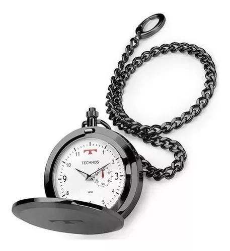 Relógio de bolso technos aço inox quartzo 1l45bc/4b