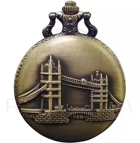 Relógio de bolso tower bridge vintage quartzo retro londres