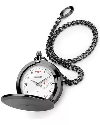 Relógio technos de bolso masculino 1l45bc/4b aço grafite