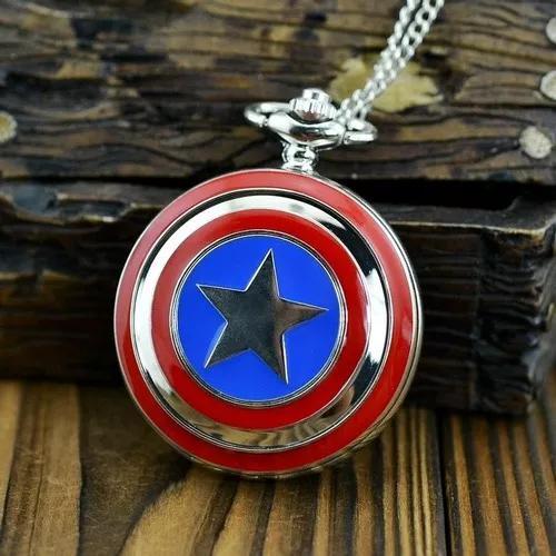 Relogio de bolso/ colar capitão america marvel vingadores