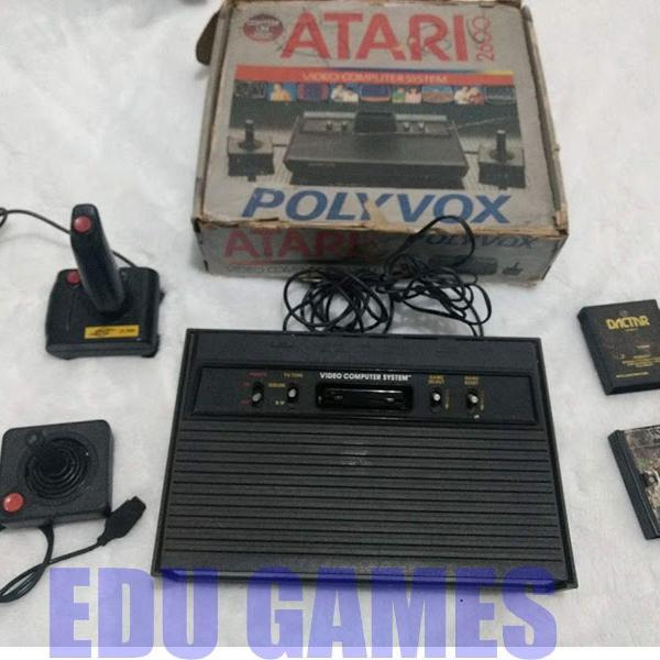 Atari 2600 polyvox na caixa 2 controle 2 jogos enduro usado