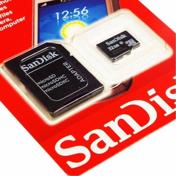 Cartão memória micro sd 32gb classe 4 + adaptador câmera