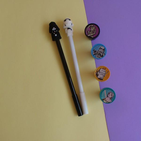 Kit star wars - canetas e carimbos
