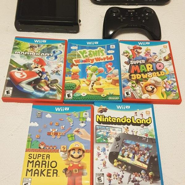 Nintendo wiiu bloqueado + jogos e pro controler