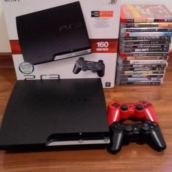 Playstation 3 slim com 2 controles + 17 jogos