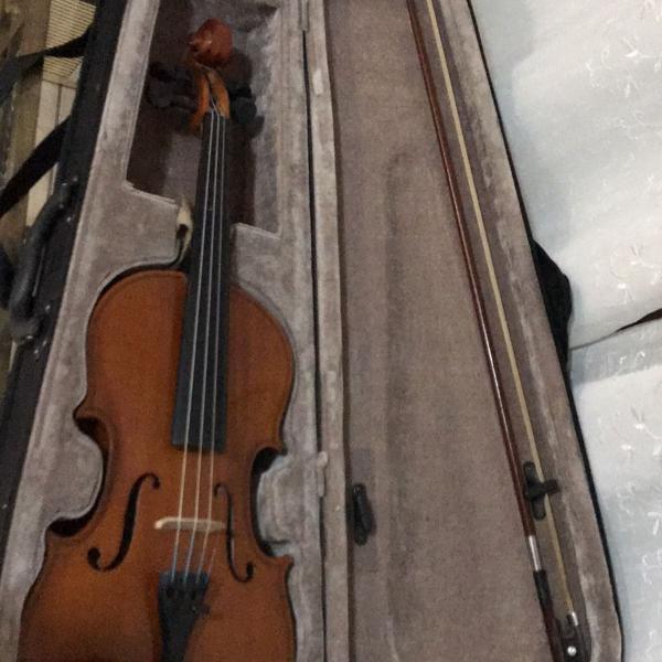 Violino com capa e arco