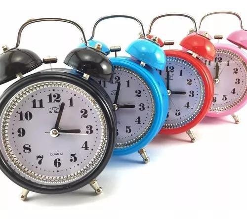 8 relógio despertador metal pilha retro antigo sino