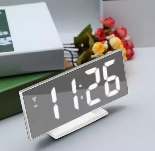 Alarme Despertador Relógio De Mesa Digital Espelho Led