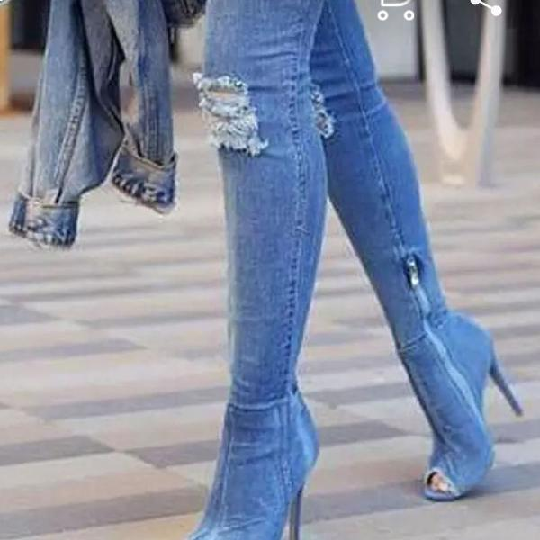 Bota Jeans (Aliexpress) acima do joelho