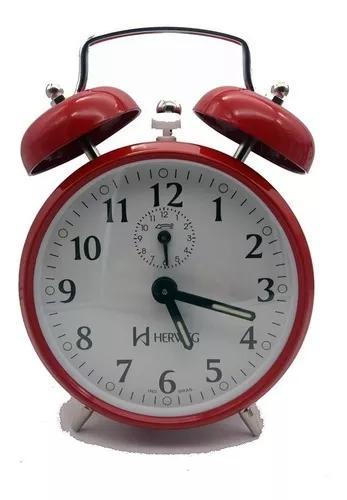 Despertador relógio antigo retrô aço a corda campainha