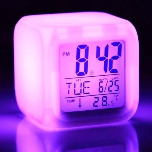 Relógio cubo colorido led despertador termômetro 7 cores