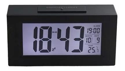 Relógio de mesa digital com despertador sensor noturno