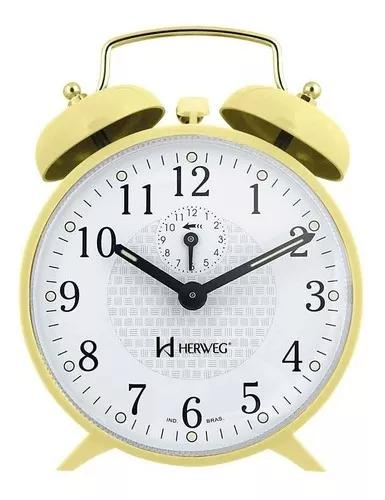 Relógio despertador a cordas amarelo campainha forte herweg