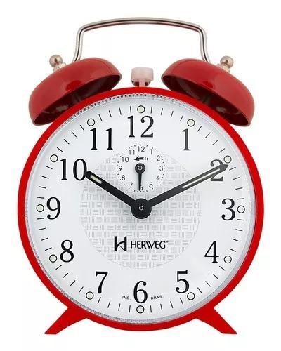 Relógio despertador a cordas campainha vermelho herweg