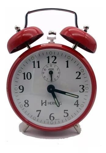 Relógio despertador antigo a corda retrô aço eurora