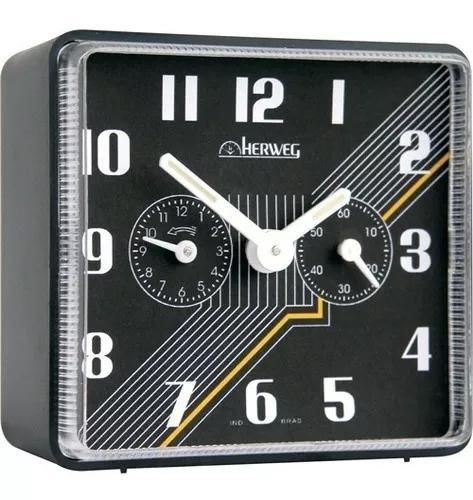 Relógio despertador antigo a cordas preto herweg 2245
