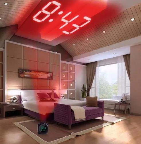 Relógio despertador digital com projetor alarme termômetro