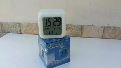 Relógio despertador digital led termômetro 7 cores