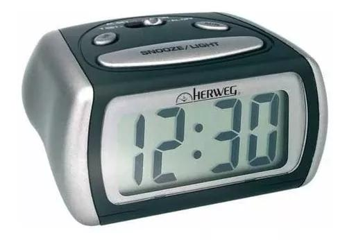 Relógio despertador digital luz noturna led azul herweg
